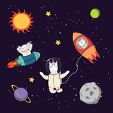 Cute animal astronauts in space. Hand drawn colorful vector illustration of a cute funny bunny and elephant astronauts in rockets and unicorn on a spacewalk, on Stock Image
