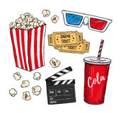 Hand drawn colorful vector illustrations - Cinema collection. Mo