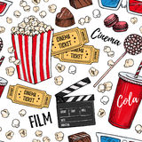 Hand drawn colorful vector seamless pattern - Cinema collection. Stock Image