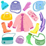 Hand Drawn Colorful Winter Clothes and Handbags Isolated on White. Cute shoes on high heel, scarf, mitten, glove and fur coat Royalty Free Stock Photo