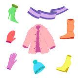 Hand Drawn Colorful Winter Clothes  on White. Cute shoes on high heel, scarf, mitten, glove and fur coat Stock Image