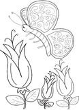 Hand drawn coloring page of a beautiful butterfly. Cartoon coloring page of flowers and a beautiful butterfly flying stock photos