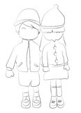 Hand drawn coloring page of a boy and girl holding hands Royalty Free Stock Photography
