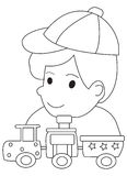Hand drawn coloring page of a boy and his toy trains. Illustrations of a boy playing with his toy trains in black and white on isolated white background for Royalty Free Stock Image