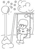 Hand drawn coloring page of a boy on a swing Stock Image