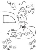 Hand drawn coloring page of a bride getting married. Cartoon coloring page of a bride coming out of her car with music and holding flowers vector illustration