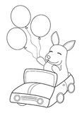 Hand drawn coloring page of a bunny riding in a car with balloons. Cartoon coloring page of a bunny or rabbit sitting in a car holding balloons vector illustration
