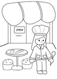 Hand drawn coloring page of a chef at her restaurant Royalty Free Stock Photos
