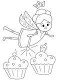 Hand drawn coloring page of a fairy with cupcakes. Illustration of a fairy magically making cupcakes appear in black and white on isolated white background for Stock Image