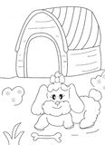 Hand drawn coloring page of a female dog, a bone and a doghouse Stock Photo