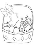 Hand drawn coloring page of a fruit basket Royalty Free Stock Photo