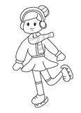 Hand drawn coloring page of a girl ice skating Stock Photography