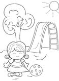 Hand drawn coloring page of a girl playing ball. Cartoon coloring page of a girl having fun playing ball at the park on a warm sunny day Stock Images