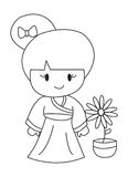 Hand drawn coloring page of a korean girl Royalty Free Stock Image