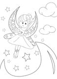 Hand drawn coloring page of a moon fairy. Cartoon coloring page of a moon fairy happily flying in the night sky around the moon and stars and clouds with her Royalty Free Stock Images