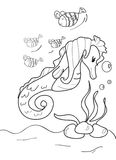 Hand drawn coloring page of a seahorse and fishes Royalty Free Stock Images