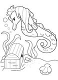 Hand drawn coloring page of a seahorse and a treasure chest Royalty Free Stock Image