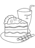 Hand drawn coloring page of a slice of cake and drink. Illustrations of a slice of cake with strawberries and wafers on the side and a drink in black and white Royalty Free Stock Photography