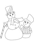 Hand drawn coloring page of 2 snowmen Stock Photos