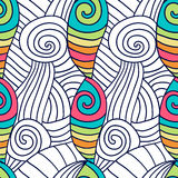 Hand drawn coloring page. Spiral wavy background. Stock Photo