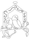 Hand drawn coloring page of two birds Stock Images