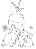 Hand drawn coloring page of two rabbits with a carrot Stock Photo