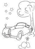 Hand drawn coloring page of a vintage car, trees, stars  and a flower Royalty Free Stock Photography