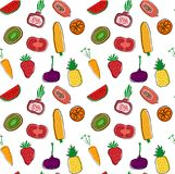Hand drawn colourful fruits and vegetables pattern seamless background. Printing vector illustration