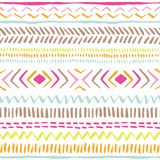 Hand drawn colourful tribal lines, stripes on white background vector seamless pattern. Fresh abstract geometric drawing. Hand drawn colourful tribal lines and Stock Illustration