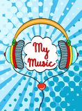 Hand drawn comic headphones with lettering My Music. Vector colorful object in pop art retro comic style on bright dot background Royalty Free Stock Image