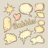 Hand Drawn Comic Speech Bubbles. Think and Talk Message Elements Royalty Free Stock Images