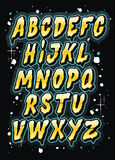 Hand drawn comics style letttering font. Vector alphabet Stock Photo
