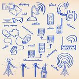 Hand Drawn Communication Icon Set Stock Photo