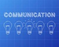 Communication Light Bulbs Blueprint Royalty Free Stock Photography