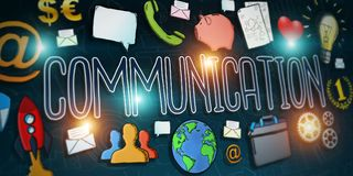 Hand-drawn communication text presentation. With depth of field focus Stock Photo