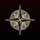 Hand drawn compass wind rose symbol Stock Photo