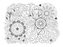 Isolated arabesque composition with mandalas Royalty Free Stock Images