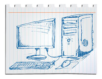Hand drawn computer. Royalty Free Stock Images