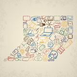 Hand drawn computer icons set. Royalty Free Stock Photo
