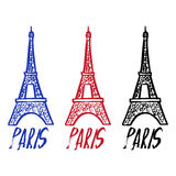 Hand drawn concept logo with Eiffel Tower with text Paris. Royalty Free Stock Images
