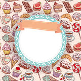 Hand drawn confectionery seamless pattern croissant Cupcake candy marshmallow ice cream cake donut and coffee. doodle frame. Ribbon royalty free illustration