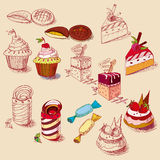 Hand drawn confections dessert pastry bakery Stock Images