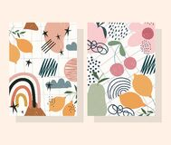 Hand Drawn Contemporary, Flower Fruits Decoration Trendy Print Collage Color Banners Royalty Free Stock Photography