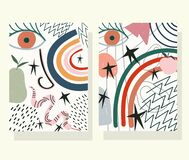 Hand Drawn Contemporary, Trendy Print Collage Color Face Snake Fruits Banners Stock Photography