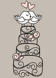 Hand Drawn Contemporary Wedding Cake and Love Birds. With Hearts vector illustration