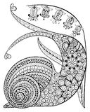 Hand drawn contented Snail and flower for adult anti stress Colo. Ring Page with high details isolated on white background, illustration in zentangle style Stock Photo