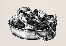 Hand drawn cooked mussels style vintage Stock Photo