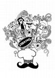 Hand drawn Cooking doodle set Royalty Free Stock Photography
