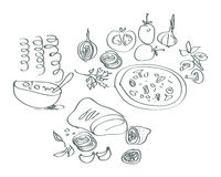 Hand drawn cooking elements Stock Images
