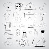 Hand drawn cooking foods and kitchen Royalty Free Stock Photo